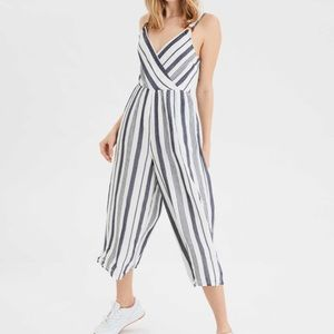American Eagle Striped Wrap Front Jumpsuit